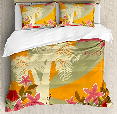 - Ambesonne Hawaiian Duvet Cover Set King Size, Aloha Vintage Print Colorful Swirl Backdrop Dolphins Palm Trees Flowers, Decorative 3 Piece Bedding Set with 2 Pillow Shams, Marigold Reseda Green