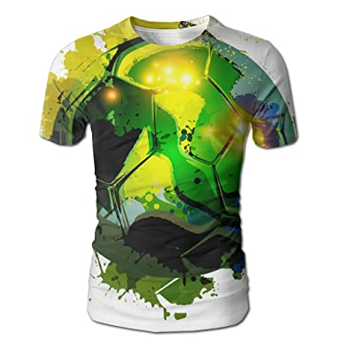 d14b0b7b Amazon.com: Shirley Cool Football Green Anime Men's Realistic 3D Printed T-Shirt  O Neck Short Sleeve Tee: Clothing