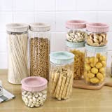 Kitchen Storage Jar, Plastic Food Storage Containers Set, Airtight Food Jars, Set of 10 Kitchen Canisters for Sugar,Candy, Cookie, Rice and Spice Jars