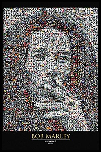Bob Marley Mosaic I Classic Reggae Music Rasta Legend Celebrity Framed Poster Print 24x36