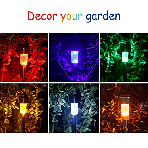 KODOO-Solar-Garden-Lights-Outdoor-6Color-12Pack-Stainless-Steel-Led-Pathway-Lights-for-Patio-Lawn-Yard-and-Walkway