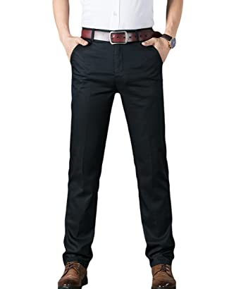 9ea6214fe0 Mens Suit Trousers Casual Slim Fit Straight Leg Pants Stretch Chinos Smart  Dress Pants for Formal Business Work Office Home 4 Colors: Amazon.co.uk:  Clothing