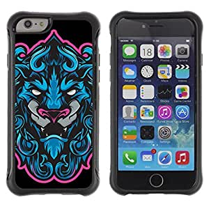 Hybrid Anti-Shock Defend Case for Apple iPhone 4s Inch / Cool Neon & Blue Tiger