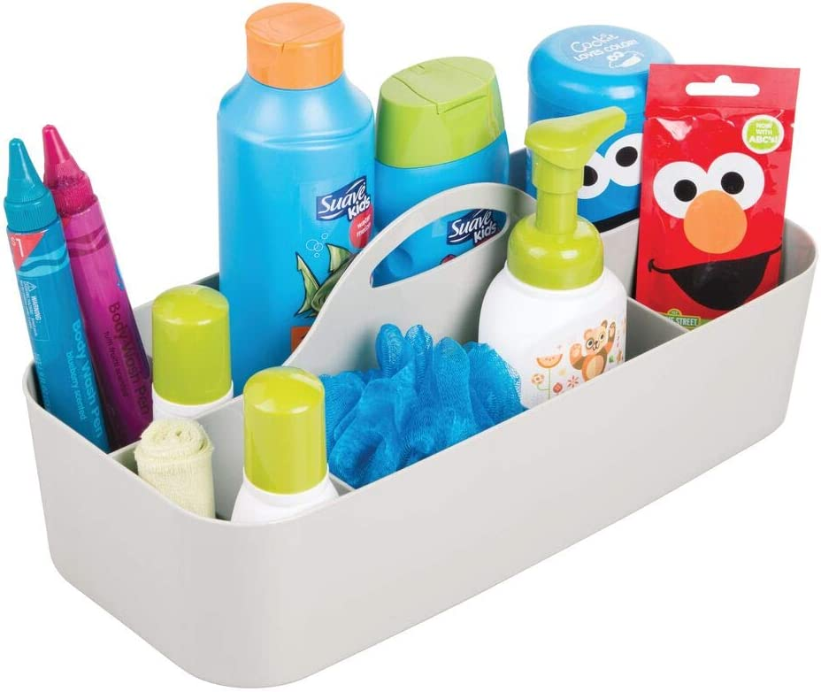 mDesign Canastilla con 11 compartimentos – Gris claro - Gran cesta de plástico para accesorios de bebes, también útil como organizador de maquillaje o neceser – Con agujeros para fácil limpieza