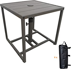 Patio Umbrella Table Stands with Umbrella Hole,with 4 Sand Bags Outdoor Umbrella Bases Small Square Table for Bistro,Balcony, Backyard, Patio, Garden, Deck and Pool Occasions
