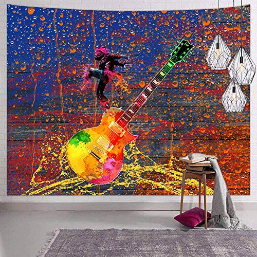 (Hexagram Psychedelic Music Wall Tapestry for Bedroom Hippie Watercolor Guitar Tapestry Wall Hanging Mandala Bohemian Modern Artsy Small Tapestries Wall Decor)