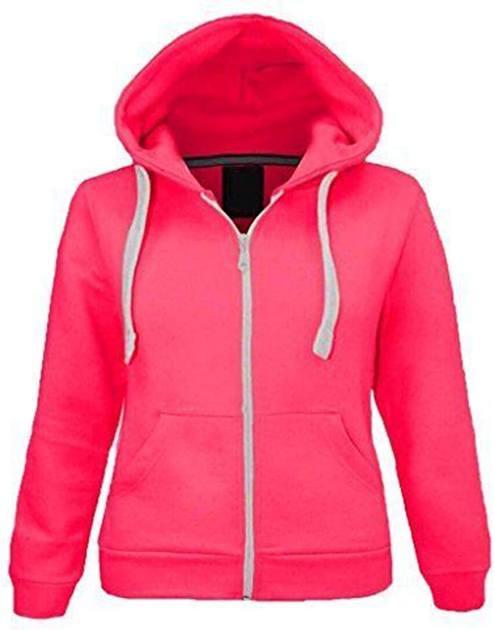 Kids Girls Unisex Plain Fleece Black Hoodie Zip Up Style Zipper Age 2-13 Years