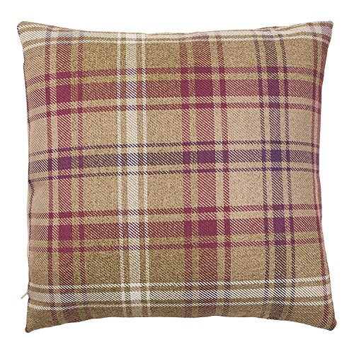 McAlister Textiles Angus   Tartan Plaid Throw Pillow Cover in Mulberry Purple   Square 22 x 22 Inches   Decorative Striped Woven Cushion Sham Case for Sofa and Bedroom Country ()