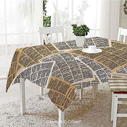 SCOXIXI Spillproof Tablecloth,Pages of Old Journals Magazines Columns Information Print Decorative,Table Cloth for Kitchen Dinning Tabletop Decoration(60.23