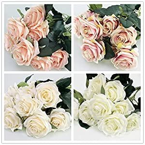 Artificial Silk Fake Flowers Rose Floral Decor Bouquet- 10 Heads Fake Flowers for Decoration in Vase- Silk Flowers in Vase for Home Decor- Dusty Rose Silk Flowers- Bunch Roses 2