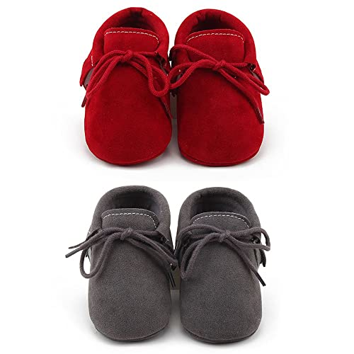 8c6ce2f8147 OOSAKU Baby Boys Soft Bottom Lace Up Moccasins Crib Shoes
