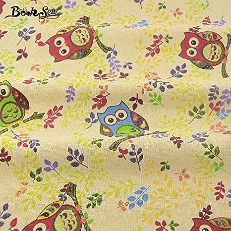 Amazon.com: Tela de lino y algodón textil con diseño de búho ...