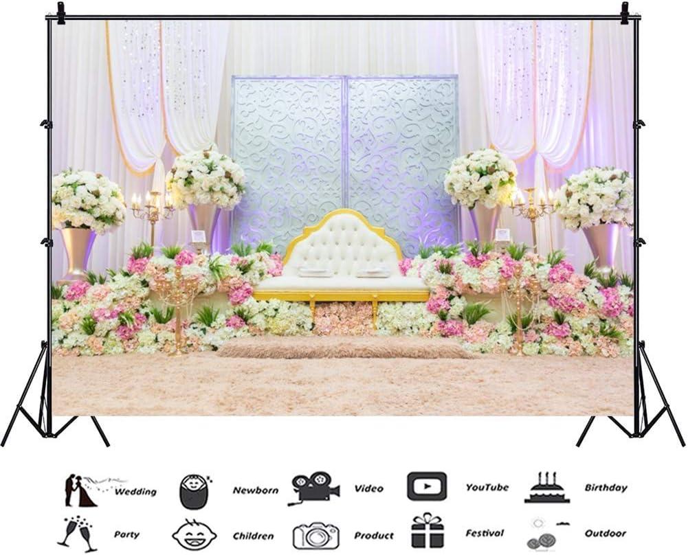 9x6ft Luxurious Wedding Room Interior Polyester Photography Backdrop Soft White Leather Sofa Beautiful Bouquet Carpet Gauze Curtain Romantic Background Newlywed Portraits Shoot Studio