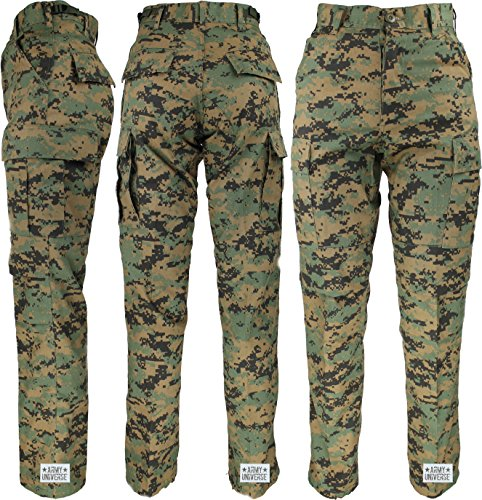 - Army Universe Woodland Digital Camo Military BDU Cargo Pants with Pin (W 31-35 - I 29.5-32.5) M
