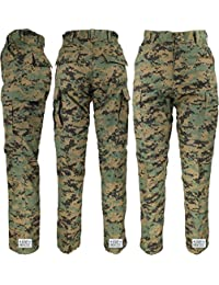 Mens Woodland Digital Camo Poly/Cotton Military BDU Army Fatigues Cargo Pants with Official ArmyUniverse Pin