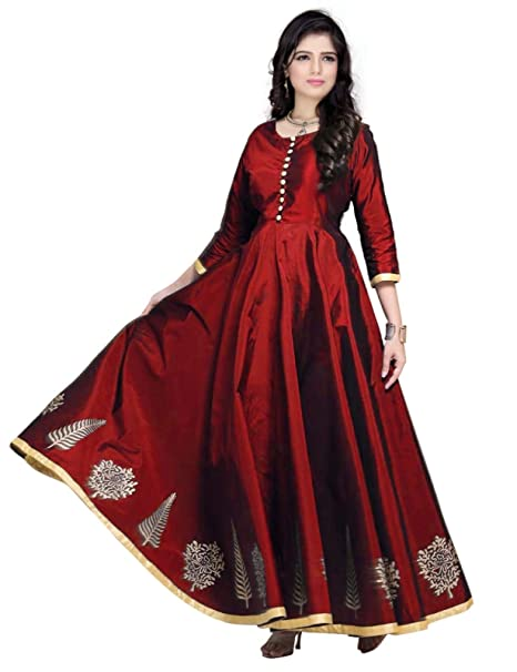 Red Lion Enterprise Women s Semi-stitched Silk Long Frock(Free Size) (Maroon 656e1eef4