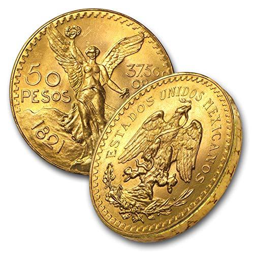 1921 MX 1947 Mexican Gold AGW 1.2057 (Random Year) 50 Pesos Brilliant Uncirculated