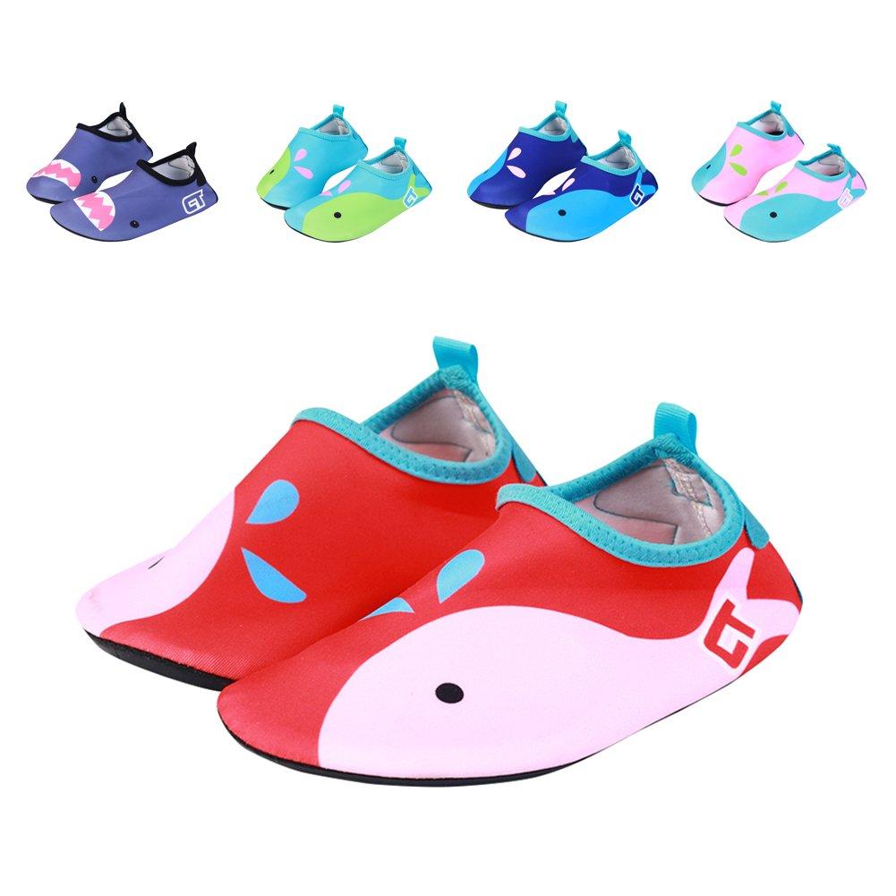 7468582b8c35 Galleon - Fereshte Kids Toddler Breathable Non-Slip Beach Aqua Socks Swim  Water Shoes Red US Big Kid 3.5-5M