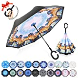 : ZOMAKE Double Layer Inverted Umbrella Cars Reverse Umbrella, UV Protection Windproof Large Straight Umbrella for Car Rain Outdoor With C-Shaped Handle(Venice)