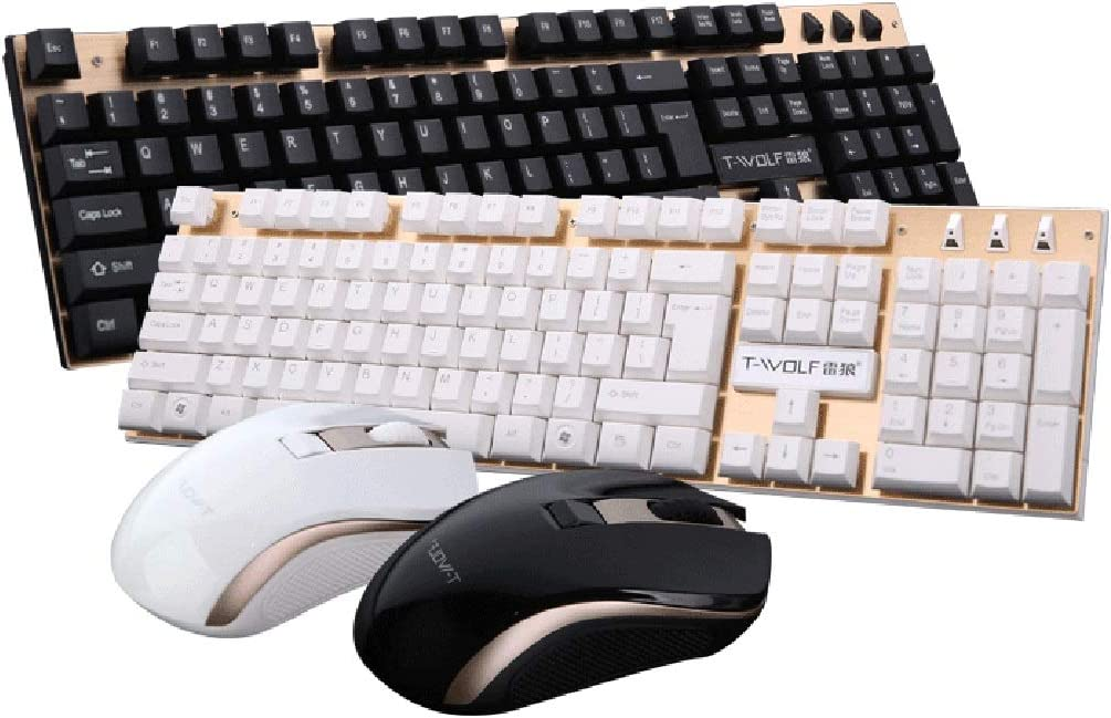 Color : Black Wireless Mechanical Touch LHQ Portable Wireless Keyboards and Mouse Combos Wireless Connection Mouse Set Suspension Keycap Metal Brushed Panel