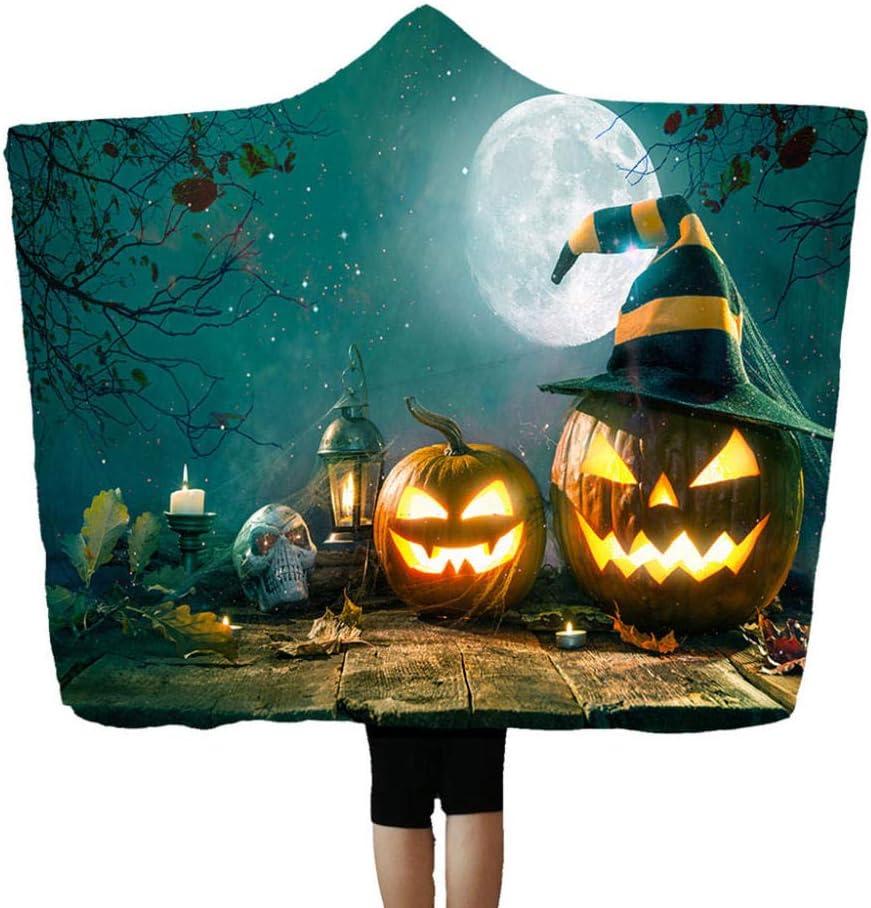 LGGJYHMY Manta con capucha de Halloween con estampado de calabaza castillo de bruja, manta de aire acondicionado 150 x 200 cm Mantas-H_150_cm_x_200_cm