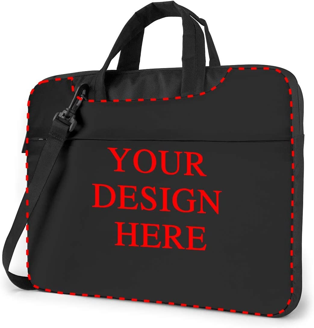 Custom Laptop Shoulder Bag Carrying Case Personalized, Add Your Own Text Image, Business Briefcase Protective Bag with Handle for Ultrabook, MacBook, Asus, Samsung, Notebook (14 inch)
