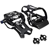BV Bike Shimano SPD Compatible 9/16'' Pedals with Toe Clips (SPD Cleats included) - Spin/Indoor/Exercise/Peloton Bicycle Peda