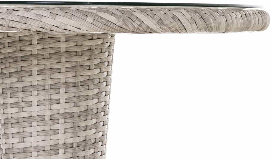 CLP de jardín de poliratán – Mesa redonda Inez, aprox. Diámetro 70 cm, estructura de aluminio, altura 75 cm, Weiß: Amazon.es: Jardín