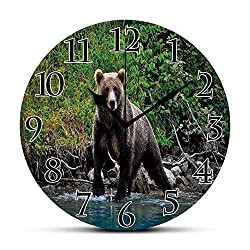 Silent Wall Clock,Cabin Decor,Grizzly Brown Bear in Lake Alaska Untouched Forest Jungle Wildlife Image Decorative,Green Brown Blue Non Ticking Wall Clock/Desk Clock for Office Home Decor 9.5 inch