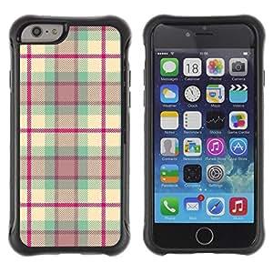 Suave TPU Caso Carcasa de Caucho Funda para Apple Iphone 6 PLUS 5.5 / checkered quilted design fabric pink / STRONG