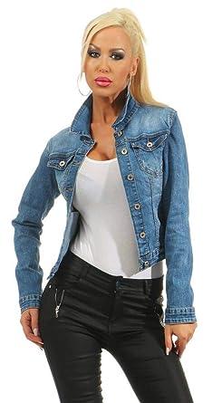 5673 Damen Jeansjacke Damenjacke Jeans Jacke Kurze Jacke Stretch-Denim
