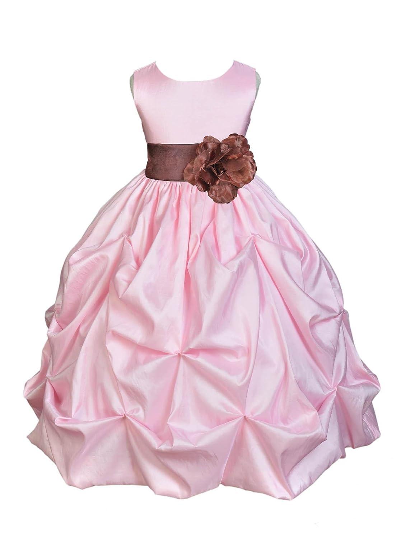 e91ca46b365a Amazon.com  Wedding Pageant Pink Bubble Pick-up Taffeta Flower Girl ...