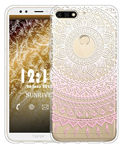 Funda Para Honor 7C, Sunrive Silicona Slim Fit Gel Transparente Carcasa Case Bumper de Impactos y Anti-Arañazos Cojín de aire Espalda Cover(tpu Unicornio 2) tpu Flor rosa
