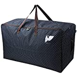 """Waterproof Thick Over-sized Organizer Storage Bag with Strong Handles, Travelling Bag, College Carrying Bag, Camping Bag for Christmas, Festival Decorations, Washable (27.5*16.5*13.8"""", Blue)"""