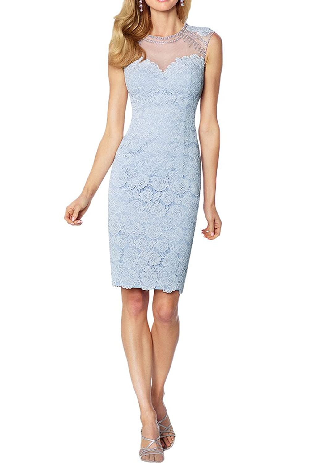 Gorgeous Bride Sheath Scoop Lace Mother of the Bride Cocktail Dresses Short