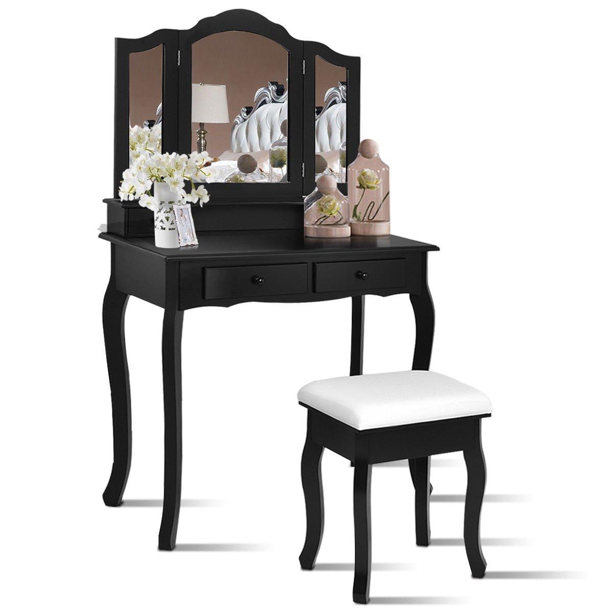 Giantex Bathroom Vanity Set Tri-Folding Mirror W/Bench 4 Drawer Dressing Table Make-up Vanity Table Set (Black)
