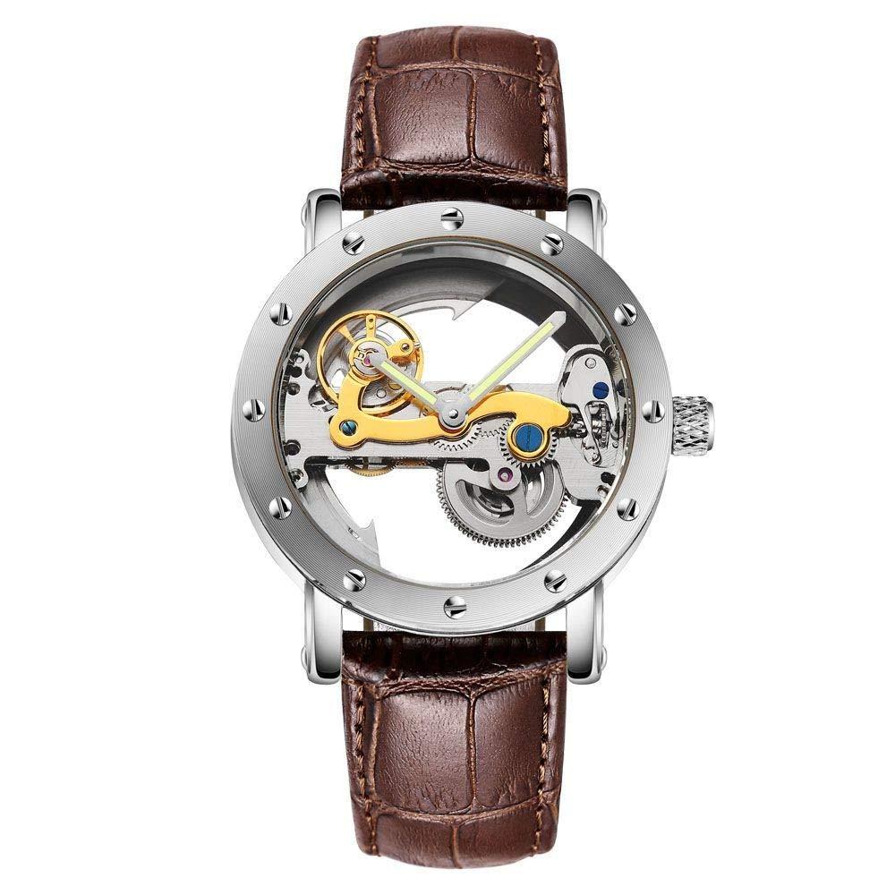Precioso reloj esqueleto para hombre con correa de cuero. Opción de colores.