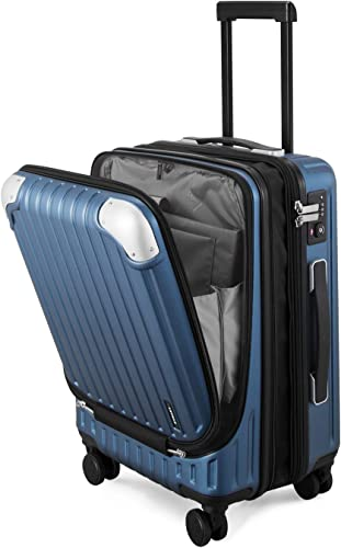 LEVEL8 Carry-ons Expandable Hardside Suitcase PC ABS Spinner Built-in TSA Lock 20in Luggage Blue-Expandable, 20 Inch