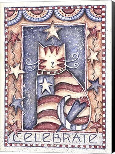 Celebrate Patriotic Cat by Shelly Rasche Canvas Art Wall Picture