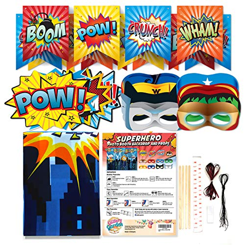 Superhero Cityscape Photography Backdrop, Studio Props, Flags and Mask DIY Kit. Great as Super Hero City Photo Booth Background - Birthday Party and Event Decorations by Glittery Garden (Image #4)
