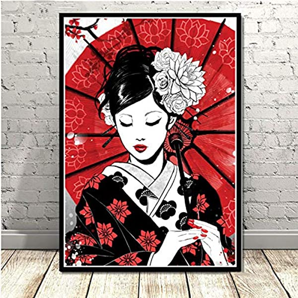Illustration Japanese  Girl Tapestry Art Wall Hanging Cover Poster
