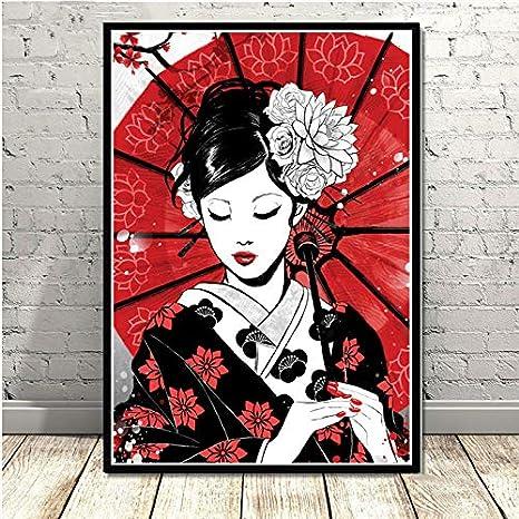 WDQTDW Stampa su Tela Dipinti Decorativi,Poster E Stampe Giappone Ruby Geisha Pesce Panda Samurai Sushi Cat Tela Dipinto Immagini A Parete per Soggiorno Home Decor Senza Cornice
