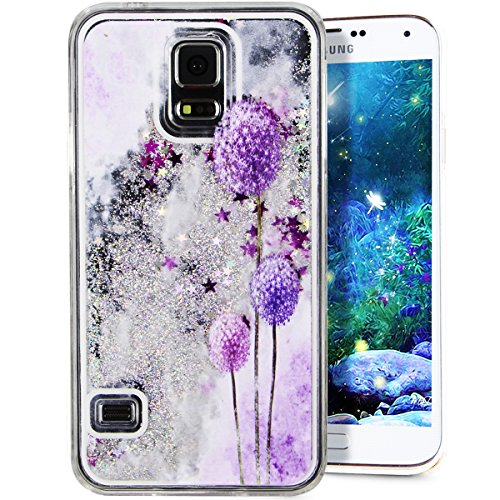 Galaxy S5 Cover Samsung Galaxy S5 Cover for Girls EMAXELER 3D Creative Design Angel Girl Flowing Liquid Floating Bling Shiny Liquid PC Hard Cover for Samsung Galaxy S5 Silver Purple Dandelion
