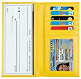 yellow checkbook cover - NapaWalli Genuine Leather Checkbook Cover For Men & Women Card Holder Wallet RFID Blocking (pebble yellow)