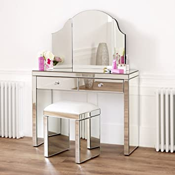 The Furniture Market Venetian Mirrored Dressing Table Set White ...