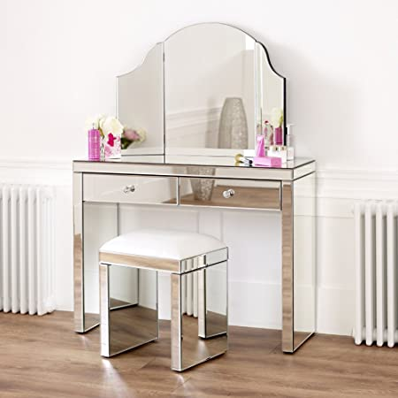 Venetian Mirrored Dressing Table Set with White Stool and Mirror ...