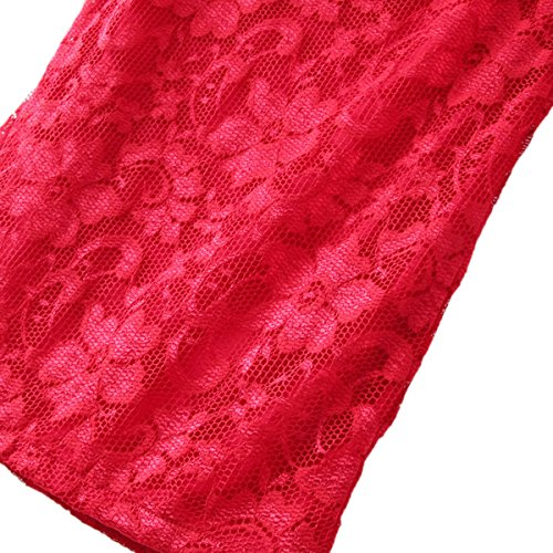 Rosa Colore Lunga Cekaso Pizzo Di Da Vestito Manica Di Partito Slim Tubino Juniores Fit Spalle cpCqBB