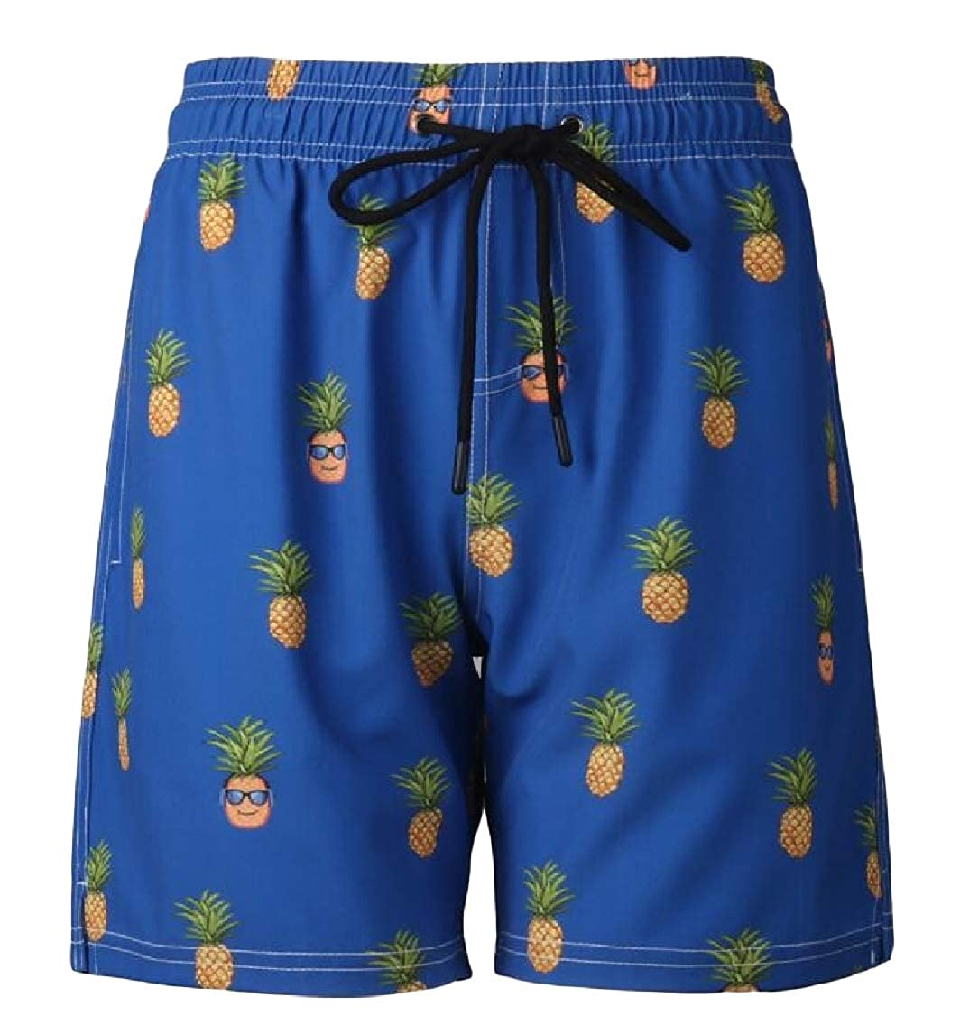 Lutratocro Mens Holiday Loose Fit Summer Graphic Elastic Waist Boardshorts