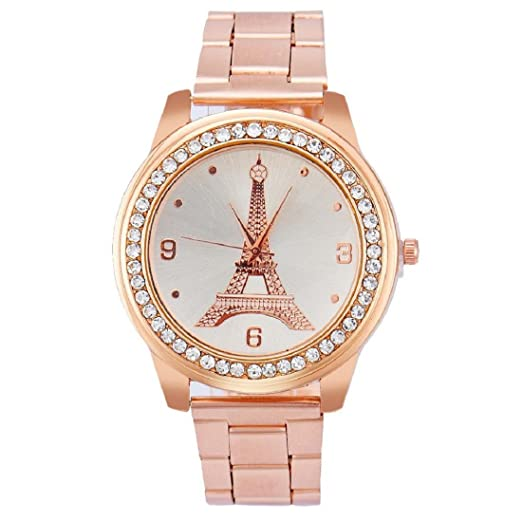 Tongshi Mujer Inoxidable Acero Cuarzo Cuero Muñeca Redondo Reloj (oro rosa)