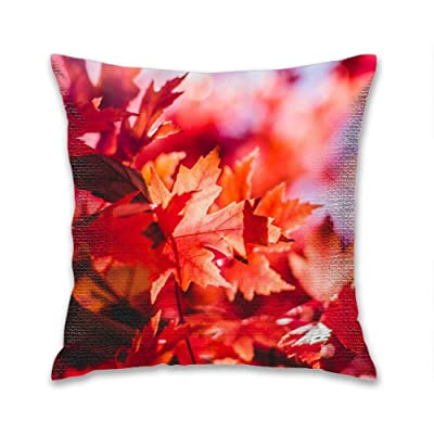 FEDDIY Maple Leaves Flare Outdoor Throw Pillow Covers Garden Square Cushion Case for Patio Couch Sofa Linen Home Decoration, 18 x 18 Inches: Home & Kitchen